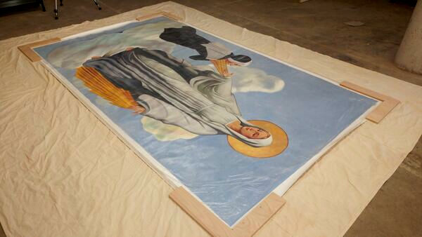 Mural being prepared for shipping