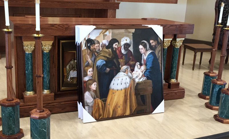 Mural of the Nativity in front of a custom altar designed by HRD